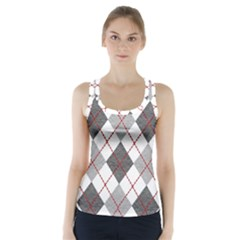 Fabric Texture Argyle Design Grey Racer Back Sports Top by Jojostore