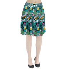 Haha Wow Pattern Pleated Skirt