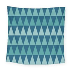 Blues Long Triangle Geometric Tribal Background Square Tapestry (large) by Jojostore