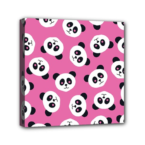 Cute Panda Pink Mini Canvas 6  X 6  by Jojostore