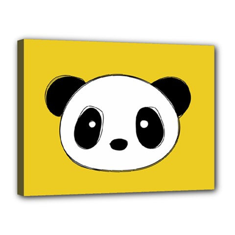 Face Panda Cute Canvas 16  X 12
