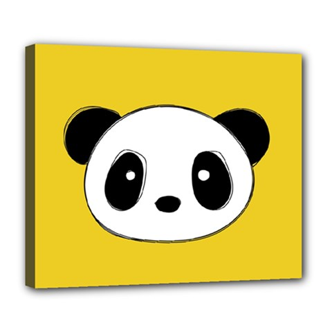 Face Panda Cute Deluxe Canvas 24  X 20   by Jojostore
