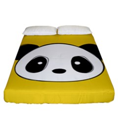 Face Panda Cute Fitted Sheet (california King Size) by Jojostore