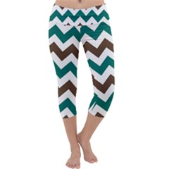 Green Chevron Capri Yoga Leggings
