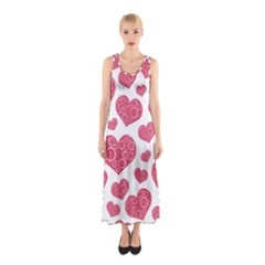 Heart Love Pink Back Sleeveless Maxi Dress