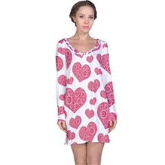Heart Love Pink Back Long Sleeve Nightdress by Jojostore