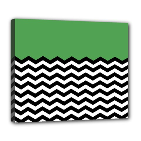 Lime Green Chevron Deluxe Canvas 24  X 20   by Jojostore