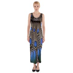 Feathers Peacock Light Fitted Maxi Dress
