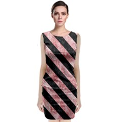 Stripes3 Black Marble & Red & White Marble (r) Classic Sleeveless Midi Dress