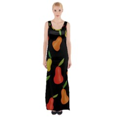 Pears Pattern Maxi Thigh Split Dress