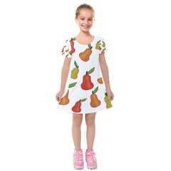 Decorative Pears Pattern Kids  Short Sleeve Velvet Dress by Valentinaart