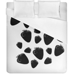 Black Strowberries Duvet Cover (california King Size) by Valentinaart