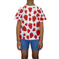 Decorative Strawberries Pattern Kids  Short Sleeve Swimwear by Valentinaart