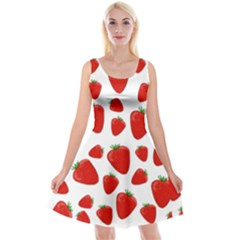 Decorative Strawberries Pattern Reversible Velvet Sleeveless Dress