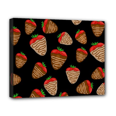 Chocolate Strawberries Pattern Deluxe Canvas 20  X 16   by Valentinaart