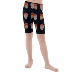 Chocolate Strawberies Kids  Mid Length Swim Shorts by Valentinaart