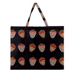 Chocolate Strawberies Zipper Large Tote Bag by Valentinaart