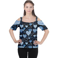 Blue Harts Pattern Women s Cutout Shoulder Tee by Valentinaart