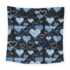 Blue Harts Pattern Square Tapestry (large)