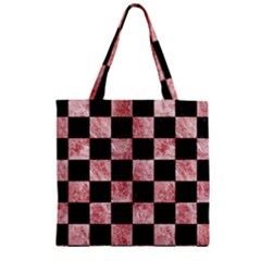 Square1 Black Marble & Red & White Marble Zipper Grocery Tote Bag by trendistuff