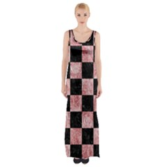 Square1 Black Marble & Red & White Marble Maxi Thigh Split Dress by trendistuff