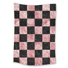 Square1 Black Marble & Red & White Marble Large Tapestry by trendistuff