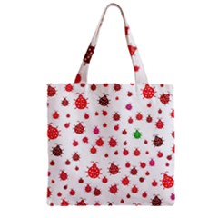 Beetle Animals Red Green Fly Zipper Grocery Tote Bag
