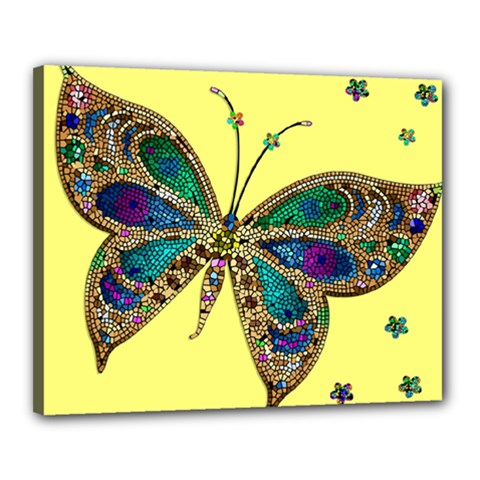 Butterfly Mosaic Yellow Colorful Canvas 20  X 16