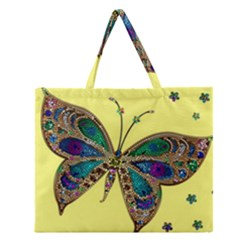 Butterfly Mosaic Yellow Colorful Zipper Large Tote Bag by Amaryn4rt