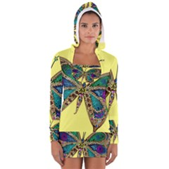 Butterfly Mosaic Yellow Colorful Women s Long Sleeve Hooded T-shirt