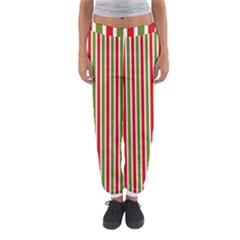 Pattern Background Red White Green Women s Jogger Sweatpants