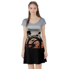 Bicycles Wheel Sunset Love Romance Short Sleeve Skater Dress