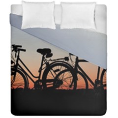 Bicycles Wheel Sunset Love Romance Duvet Cover Double Side (california King Size)