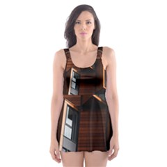 Abstract Architecture Building Business Skater Dress Swimsuit