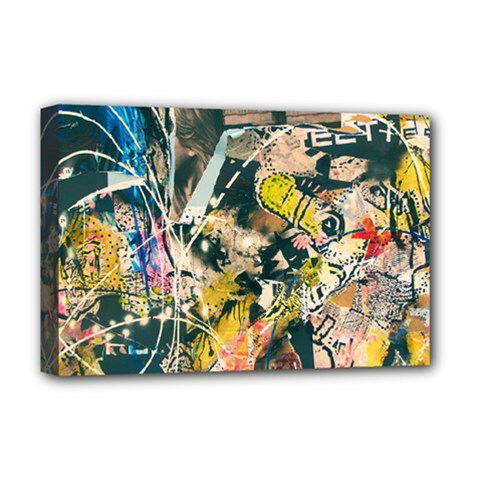 Art Graffiti Abstract Vintage Lines Deluxe Canvas 18  X 12   by Amaryn4rt