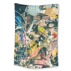 Art Graffiti Abstract Vintage Lines Large Tapestry