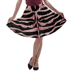 Skin2 Black Marble & Red & White Marble A Line Skater Skirt