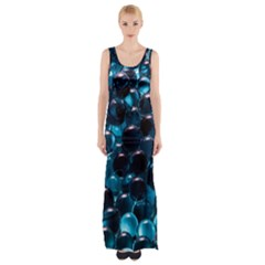 Blue Abstract Balls Spheres Maxi Thigh Split Dress by Amaryn4rt