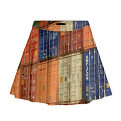 Blue White Orange And Brown Container Van Mini Flare Skirt