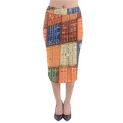 Blue White Orange And Brown Container Van Midi Pencil Skirt by Amaryn4rt