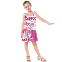 Coffee Cup Lettering Coffee Cup Kids  Sleeveless Dress by Amaryn4rt