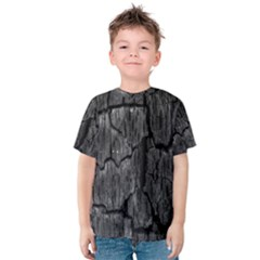 Coal Charred Tree Pore Black Kids  Cotton Tee by Amaryn4rt