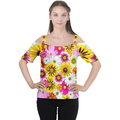 Flowers Blossom Bloom Nature Plant Women s Cutout Shoulder Tee by Amaryn4rt