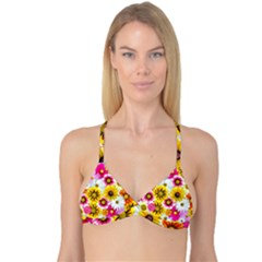 Flowers Blossom Bloom Nature Plant Reversible Tri Bikini Top by Amaryn4rt