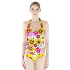 Flowers Blossom Bloom Nature Plant Halter Swimsuit by Amaryn4rt