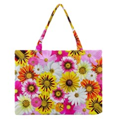 Flowers Blossom Bloom Nature Plant Medium Zipper Tote Bag by Amaryn4rt