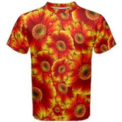 Gerbera Flowers Blossom Bloom Men s Cotton Tee