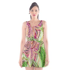 Colorful Design Acrylic Scoop Neck Skater Dress by Amaryn4rt