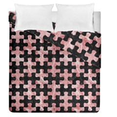 Puzzle1 Black Marble & Red & White Marble Duvet Cover Double Side (queen Size)