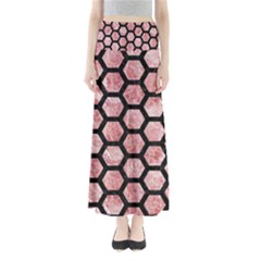 Hexagon2 Black Marble & Red & White Marble (r) Full Length Maxi Skirt by trendistuff